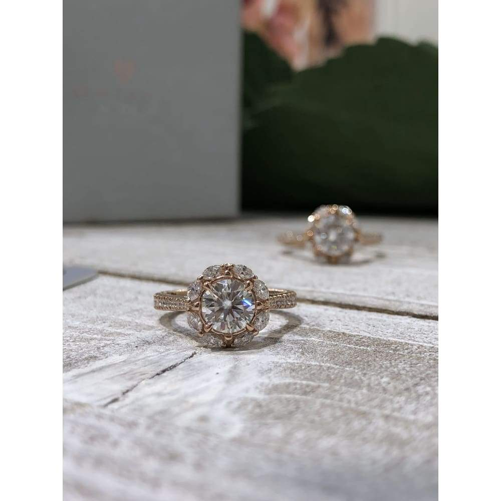 Eternal Collection ~ Gail ~ 18K Rose 6.0Mm C&c F1 Round Moissanite Diamond Halo And Band - Ring