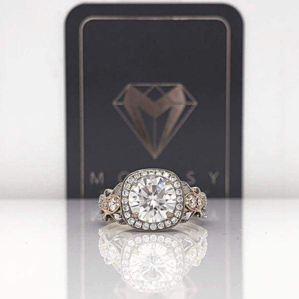 Eternal Collection ~ Rachel ~ 18Krw 8Mm Round Moissanite Diamond Hidden Halo And Band - Ring