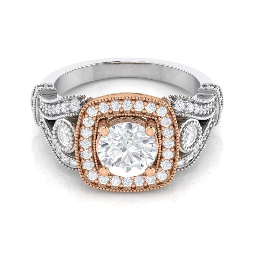 Eternal Collection ~ Sarah ~ 18Krw 7.5Mm Round Moissanite Diamond Hidden Halo And Band - Ring