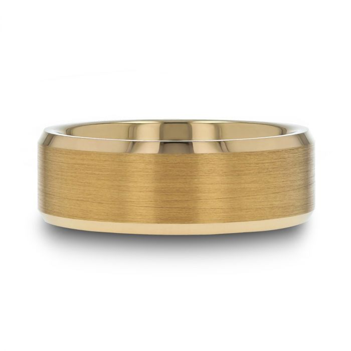 HONOR Gold-Plated Tungsten Beveled Polished Edges Flat Ring with Brushed Center