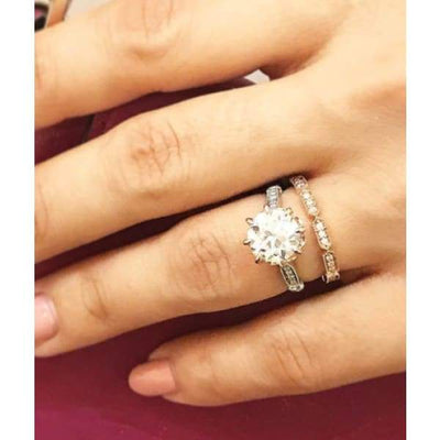 Isaline ~ Moissanite Round Oec And Matching Moissanite Band Set - Ring