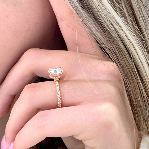 Lisa ~ 18K 8.0mm Round Moissanite, Diamond Hidden Halo and Band