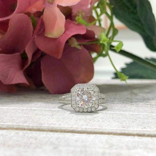 Mackenzie ~ 18Kw 7.5Mm Round Charles & Colvard Moissanite Diamond Halo And Band - Ring