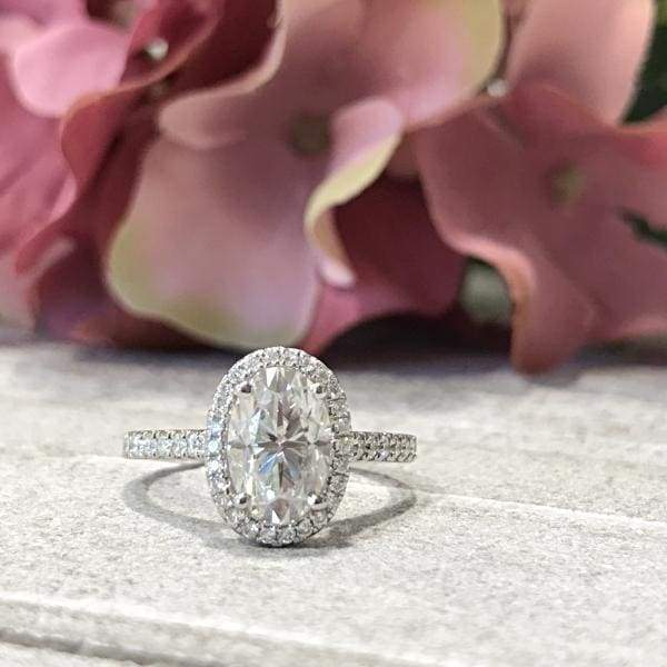 Mariah ~ 18Kw 9X6Mm Oval Moissanite Diamond Halo And Band - Ring