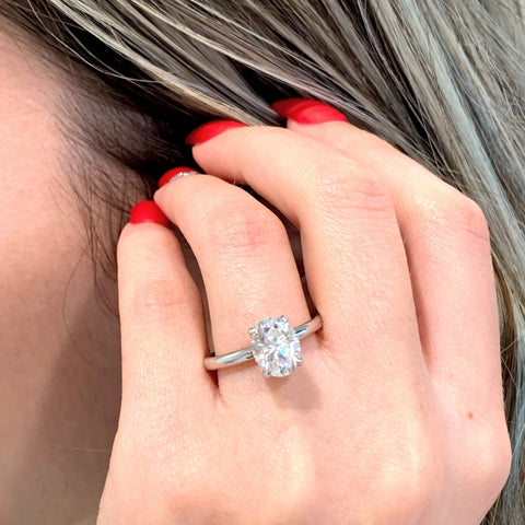 Marissa ~ 18KW 9x7mm Oval Moissanite, Diamond Hidden Halo