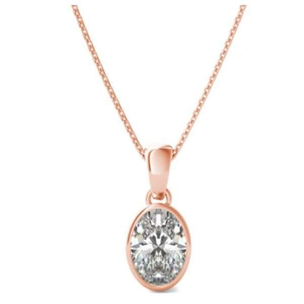 Necklace ~ Oval Moissanite Bezel Pendant - Necklace