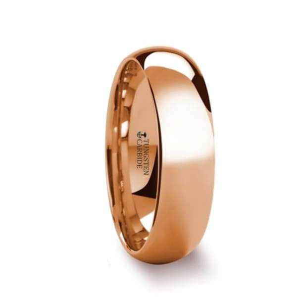 Oro Domed Rose Gold Tungsten Wedding Ring - Mens Rings