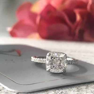 Paula ~ 18Kw 7.5 Mm Cushion Supernova Moissanite Diamond Double Edge Halo And Band - Ring