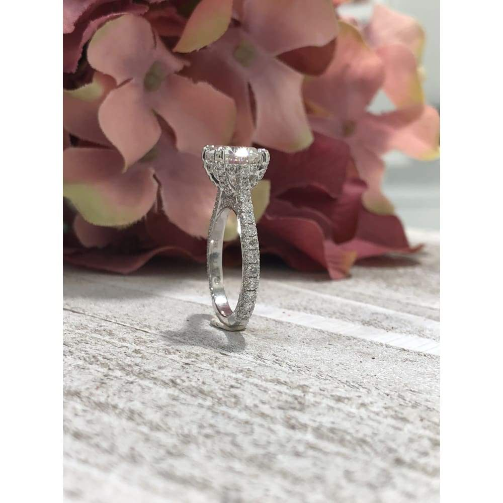 Rebecca ~ 18Kw 9Mm Round Moissanite Diamond Cathedral And Triple Edge Band - Ring