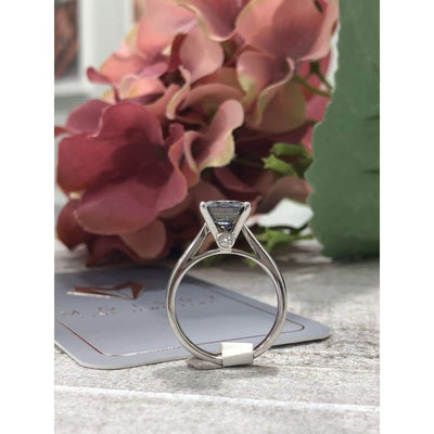 Rhonda ~ 18Kw 8Mm Asscher Moissanite Solitaire - Ring