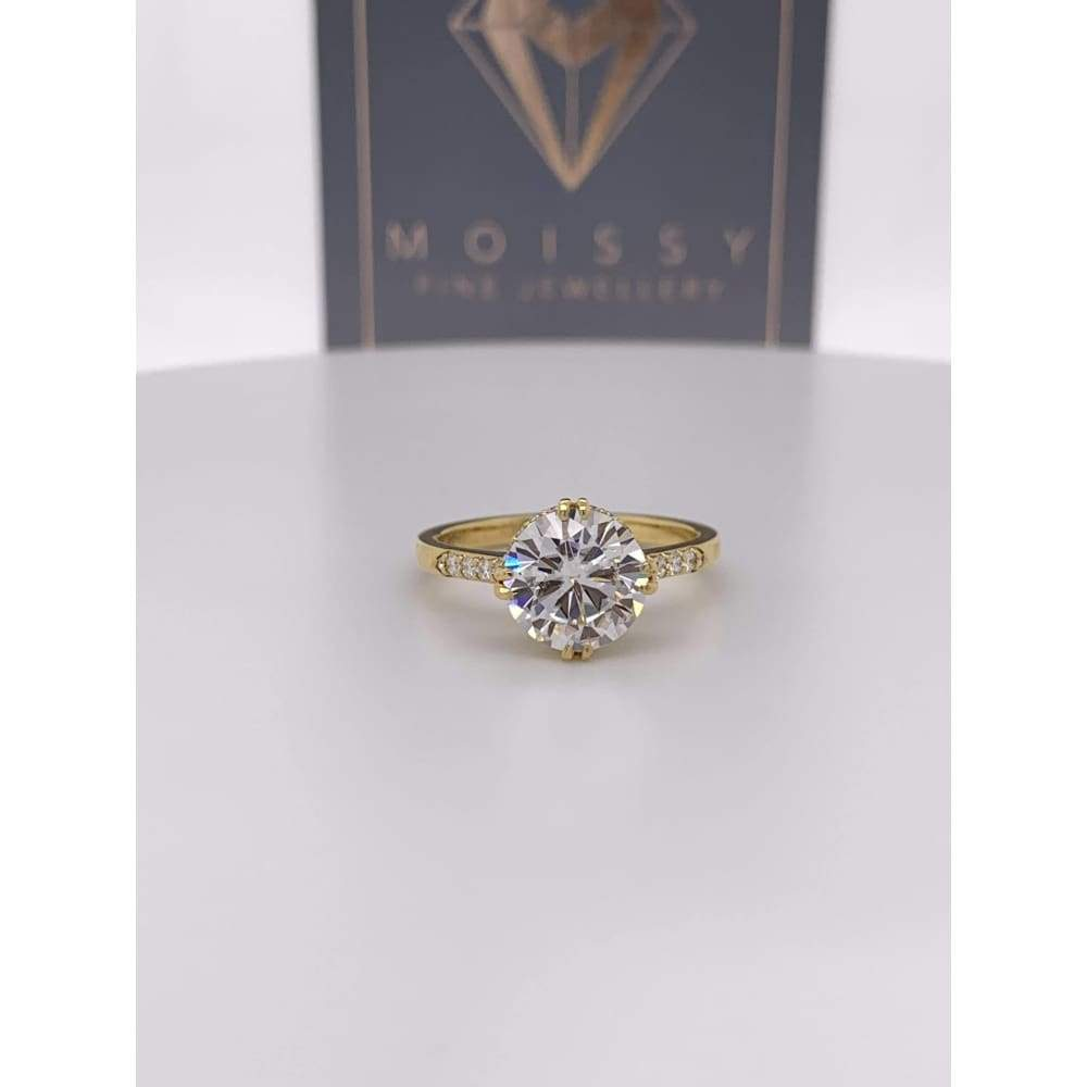 Rosie ~ 8Mm Round Moissanite Diamond Halo And Band - Ring