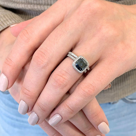 Savannah-B ~ 18KW 8mm Cushion Blue Moissanite, Diamond Halo and Band