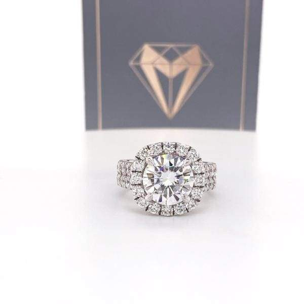 Shantell ~ 14Kw ~ 9Mm Round Moissanite Diamond Halo And Band - Ring