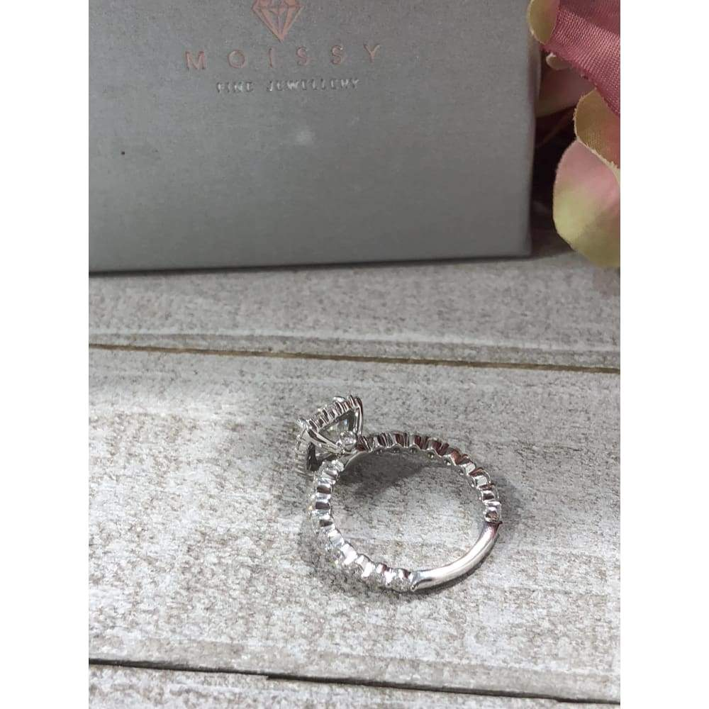 Tina ~ 18Kw 7Mm Cushion Moissanite Diamond Band And Halo - Ring