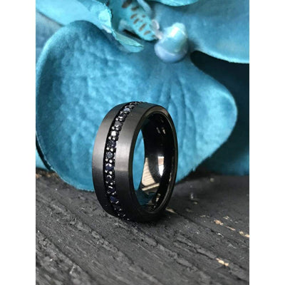 Valiant Black Tungsten Ring With Black Sapphires - Mens Rings