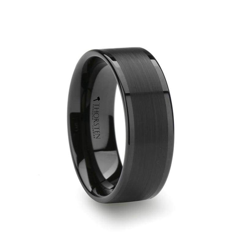 Vulcan Flat Black Tungsten Ring With Brushed Center & Polished Edge - Mens Rings