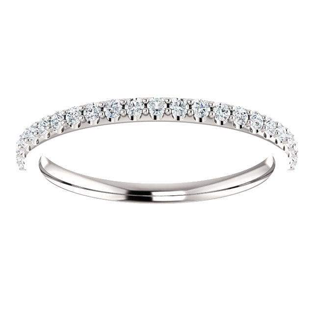 Wb059 ~ Diamond ~ .20Ct Round White Gold Wedding Band - Bands