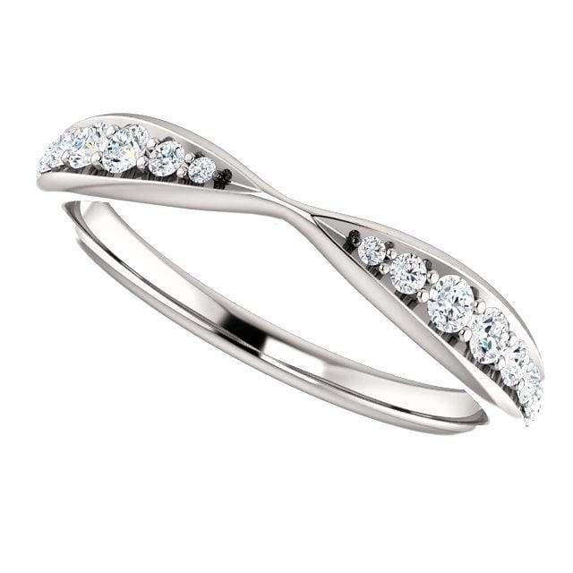 Wb070 ~ Diamond ~ .25Ct Round White Gold Pinched Wedding Band - Bands