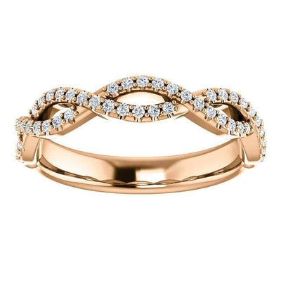 Wb073~ Diamond ~ 0.26Ct Infinity Rose Gold Wedding Band - Bands
