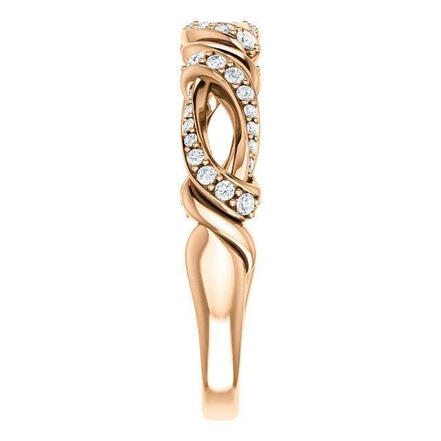 Wbm0056 ~ Moissanite .17 Ct Twisted Rose Gold Wedding Band - Bands
