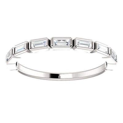 Wbm0057 ~ Moissanite .25 Ct Baguette White Gold Wedding Band - Bands