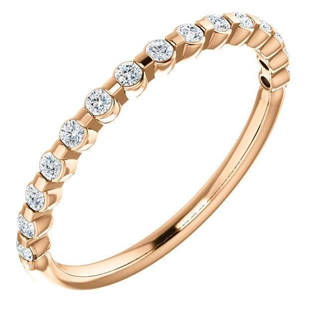 Wbm0061 ~ Moissanite .33 Ct Round Rose Gold Wedding Band - Bands