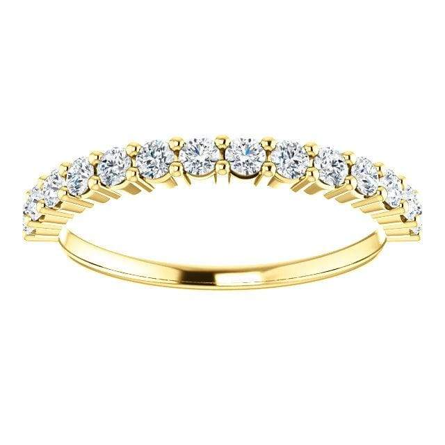 Wbm0062 ~ Moissanite .37 Ct Round Yellow Gold Wedding Band - Bands