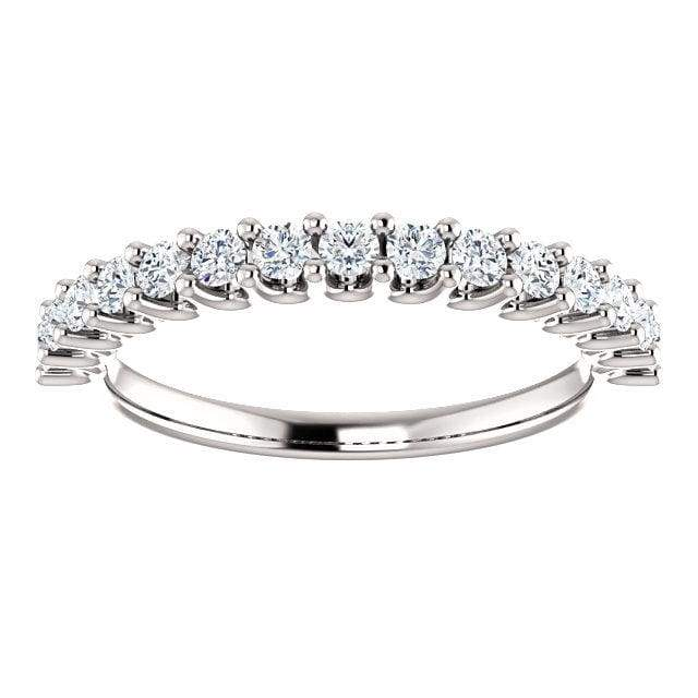 Wbm0064 ~ Moissanite 0.50Ct Round White Gold Wedding Band - Bands