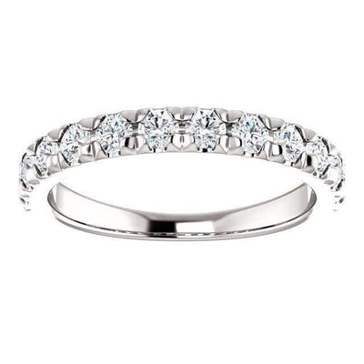 Wbm0081 ~ Moissanite ~ 0.72Ct White Gold French Set Wedding Band - Bands