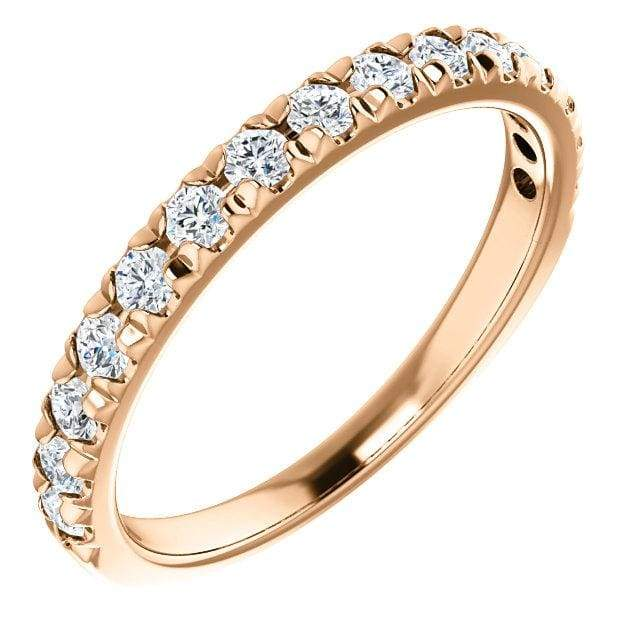Wbm0087 ~ Moissanite ~ 0.45Ct Rose Gold French Set Wedding Band - Bands