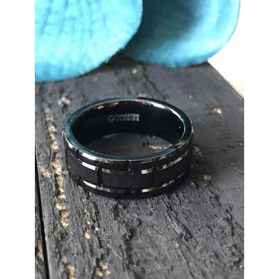 Windsor Beveled Black Tungsten Carbide Wedding Band With Brush Finished Center And Alternating Grooves - Mens Rings