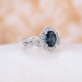 London Blue Topaz engagement ring white gold Vintage engagement ring set Antique Flower Diamond Eternity wedding Women Bridal Anniversary