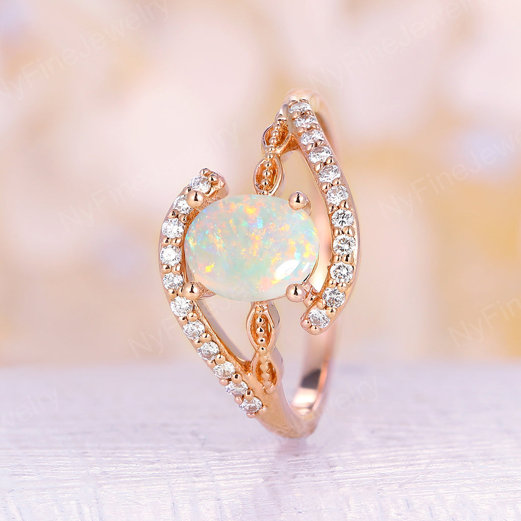 Oval Cut Natural Opal engagement ring rose gold Diamond Vintage engagement ring Antique Diamond Eternity wedding Women Bridal Anniversary