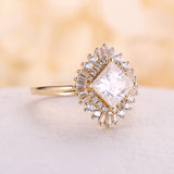 Vintage engagement ring Princess cut moissanite yellow gold diamond Art deco wedding Unique ring Anniversary Promise ring