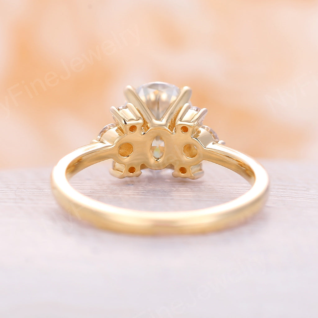 Moissanite Engagement Ring yellow gold Oval cut moissanite engagement ring Three stone wedding diamond Cluster Bridal Anniversary ring