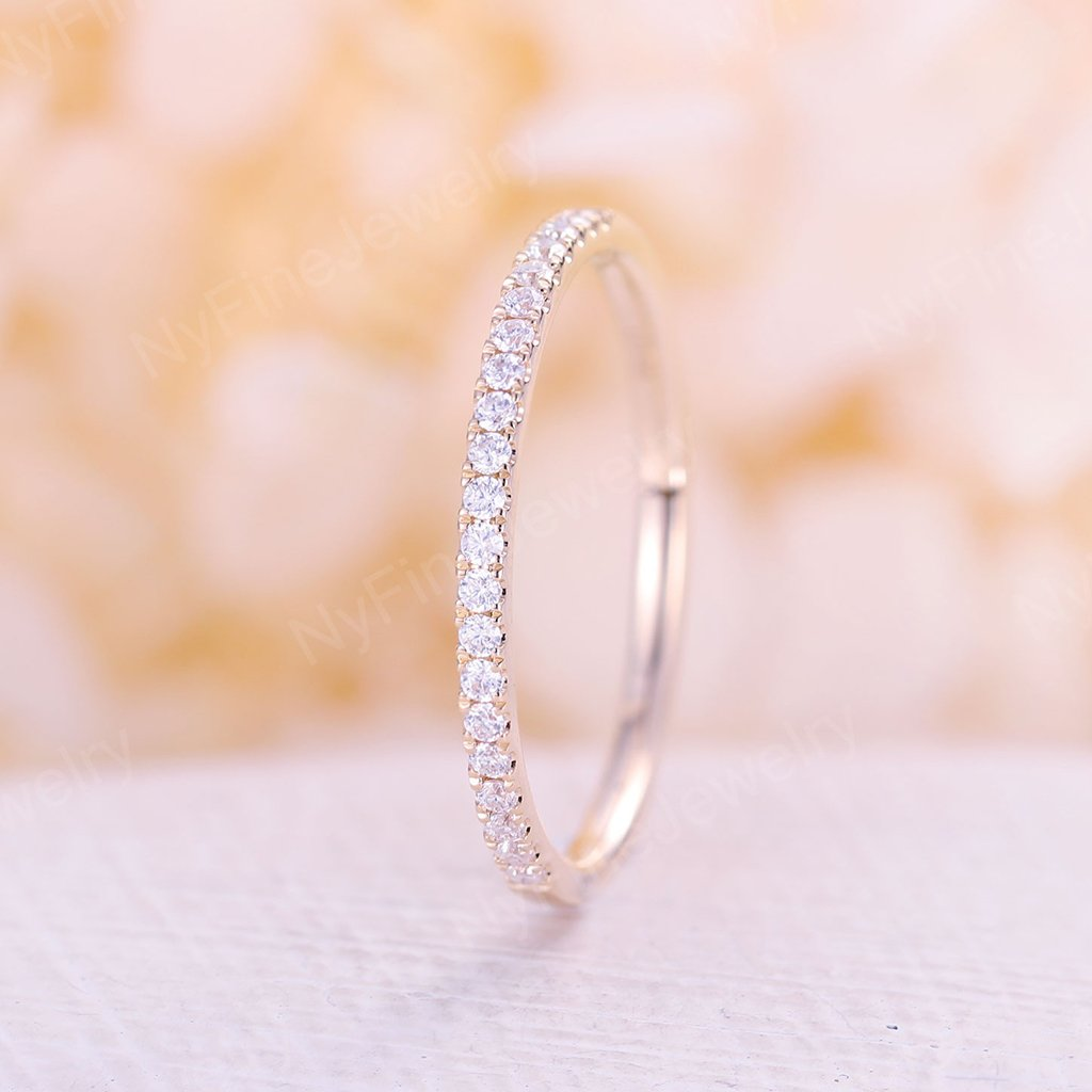 Rose Gold wedding band Moissanite ring bridal half eternity band stacking Thin dainty matching delicate promise anniversary