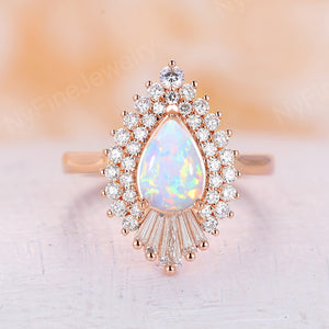 Pear shaped opal engagement ring Lab opal vintage engagement ring rose gold ring baguette CZ halo Art deco Unique ring Anniversary
