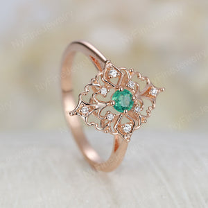 Art deco engagement ring Vintage round cut Emerald engagement ring rose gold Unique Delicate Diamond wedding ring for women Bridal Jewelry