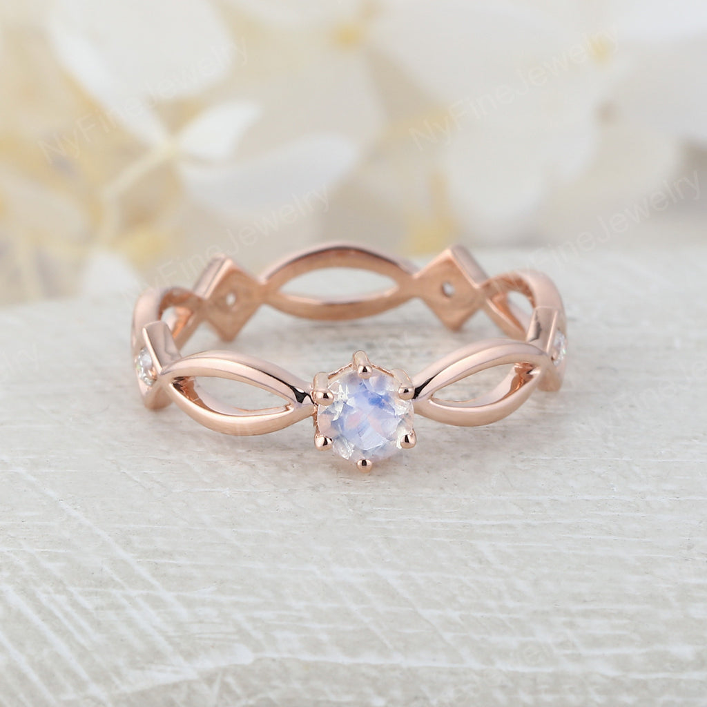 Moonstone engagement ring vintage Wedding rose gold diamond round cut unique Art deco women antique Promise Jewelry Anniversary gift