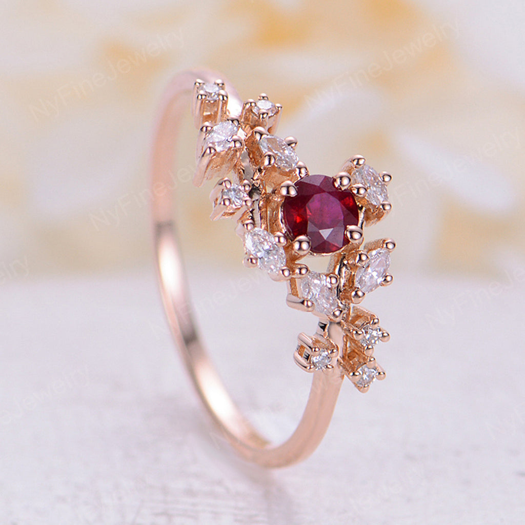 Ruby engagement ring set Diamond Cluster ring Unique rose gold engagement ring Delicate leaf wedding women Bridal Promise Anniversary Gift