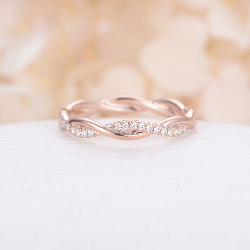 Infinity wedding band women rose gold diamond Eternity band Twisted Delicate Unique full Twining Micro Pave Bridal Dainty Stacking Promise