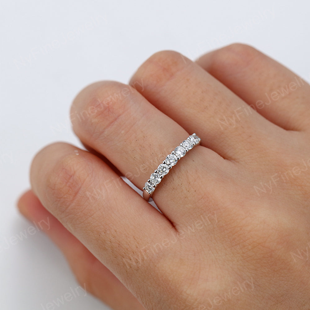 Moissanite Wedding Band white gold Women Half Eternity Unique diamond ring Multi stone Bridal Stacking Promise Anniversary gift for her