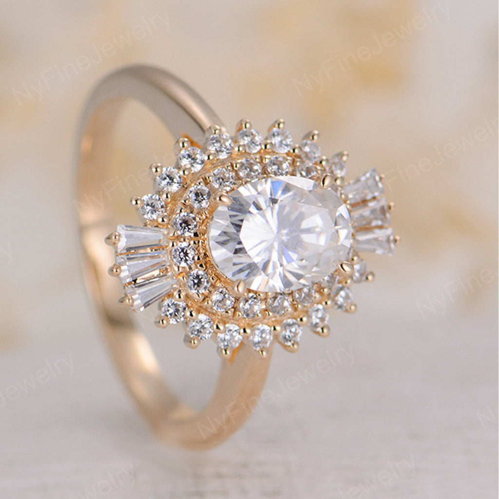 Oval Moissanite engagement ring vintage Art deco Unique engagement ring rose gold women Halo Multi Flower Bridal Jewelry Anniversary gift