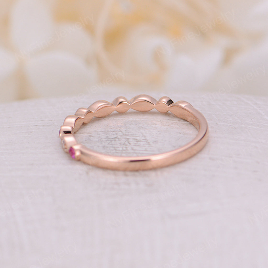 Rose gold diamond wedding band women pink sapphire Art deco vintage Bridal antique half eternity matching band Stacking Promise Anniversary