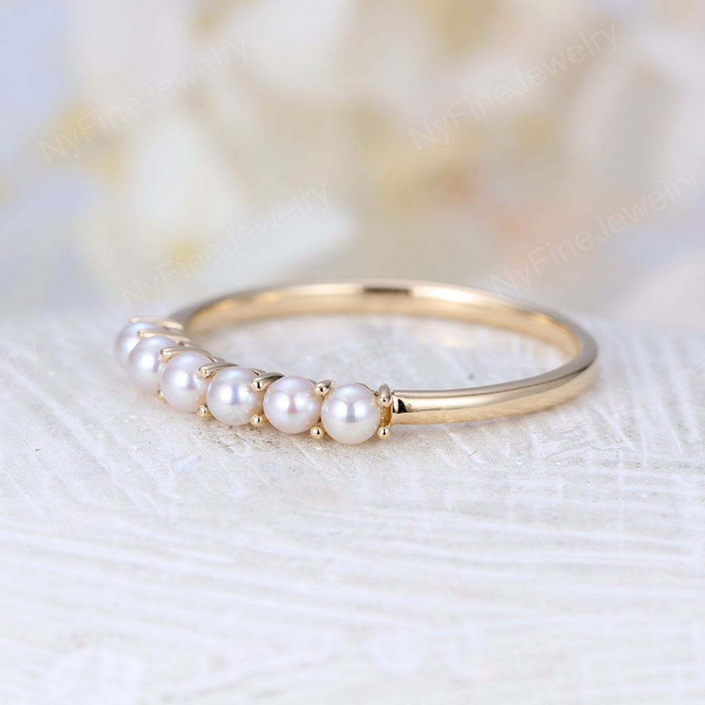 Akoya Saltwater Pearl Wedding Band Women Rose Gold Stacking ring Solid 14K gold Dainty Bridal set Delicate Promise Birthstone Anniversary