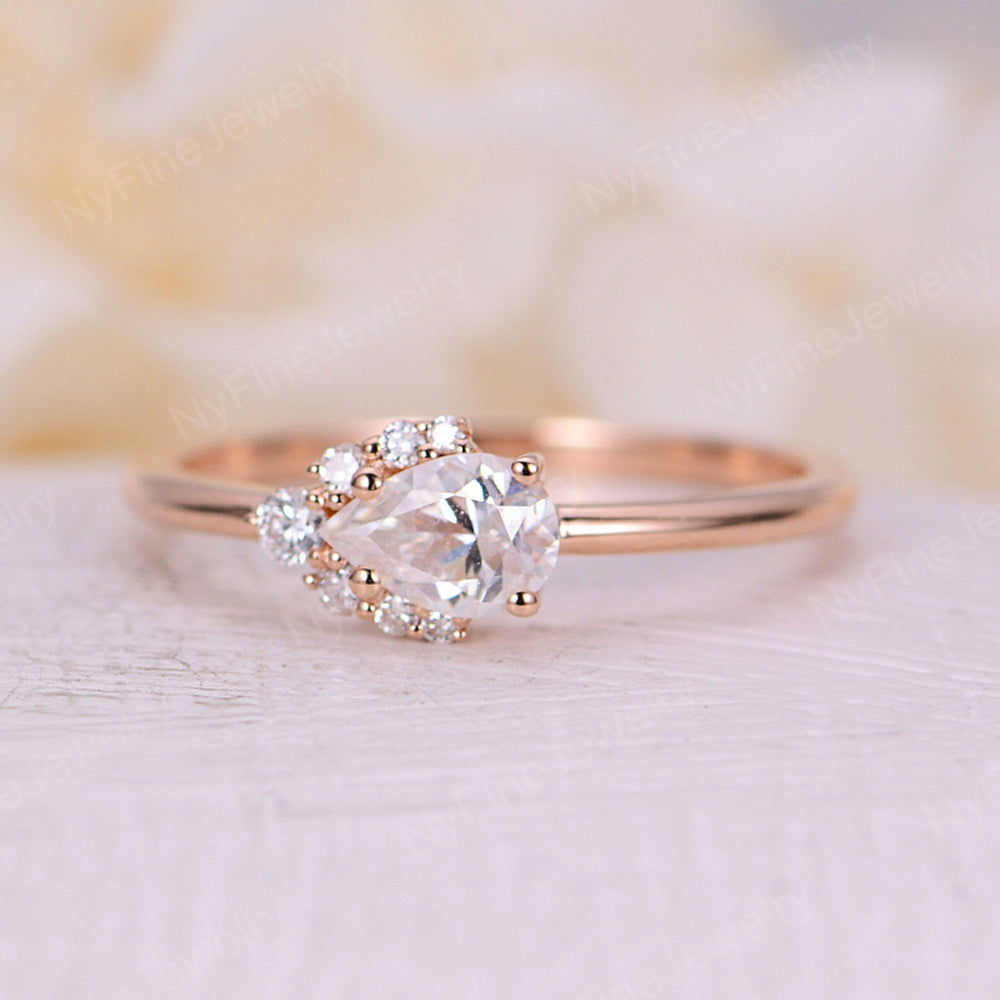Pear shaped Moissanite engagement ring vintage rings for women diamond art deco rose gold Unique wedding bridal jewelry promise gift for her