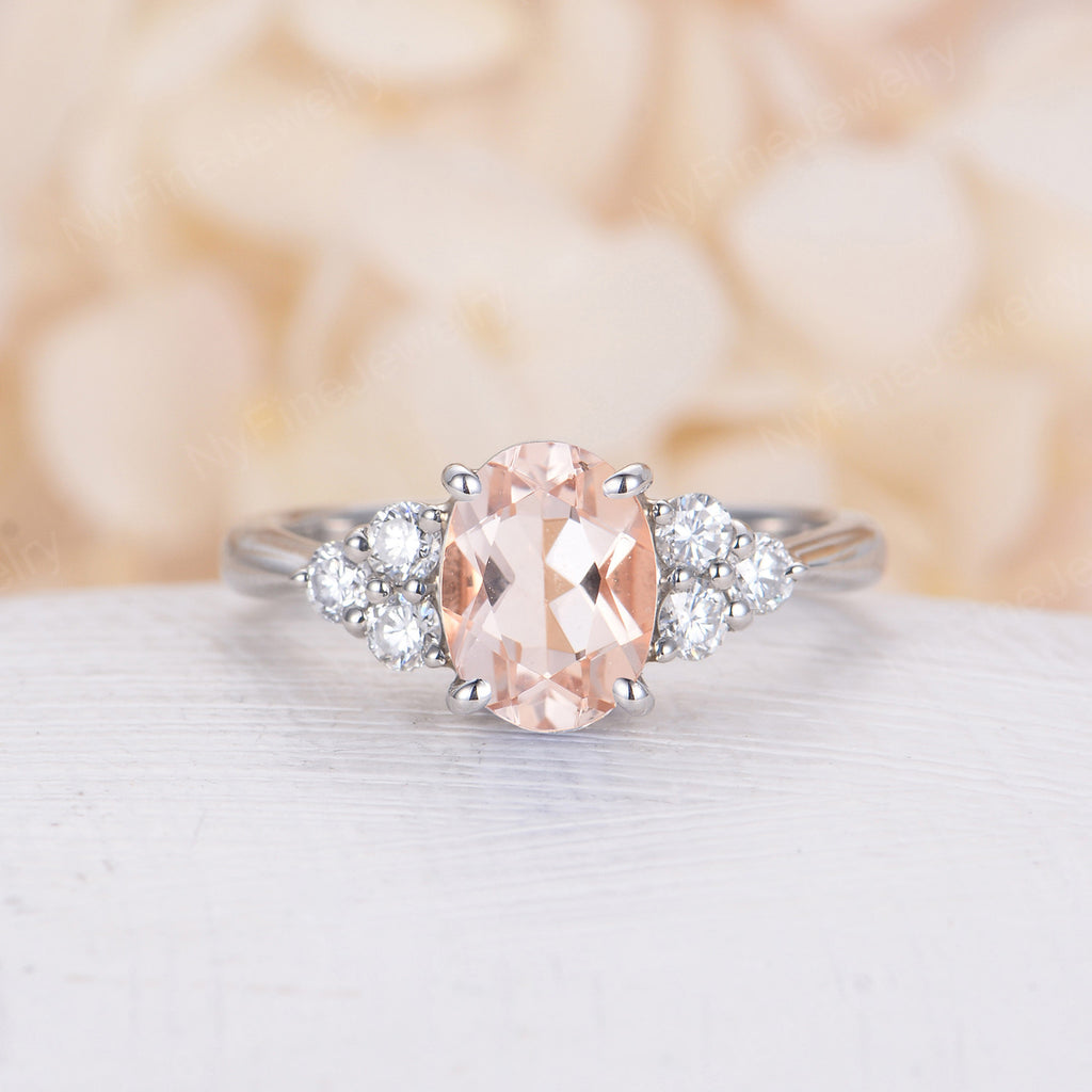 Oval shaped Morganite Engagement Ring Vintage Engagement Ring 14k White Gold cluster Unique Bridal ring Jewelry Anniversary Gift for Women