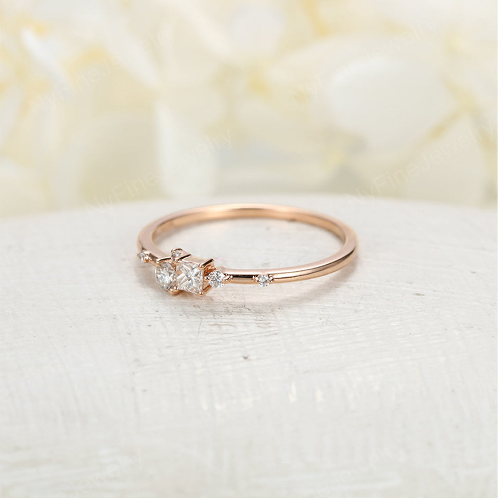 Diamond Cluster ring Unique Square Princess cut engagement Ring 14k Rose Gold Gift Floral Wedding Women Bridal Multi Promise Anniversary