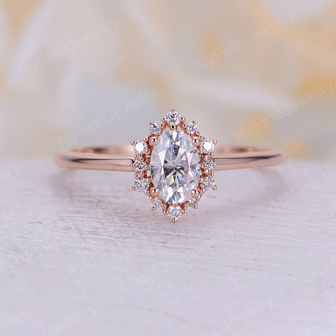 Vintage engagement ring Oval Moissanite engagement ring rose gold diamond halo wedding Jewelry Anniversary promise ring