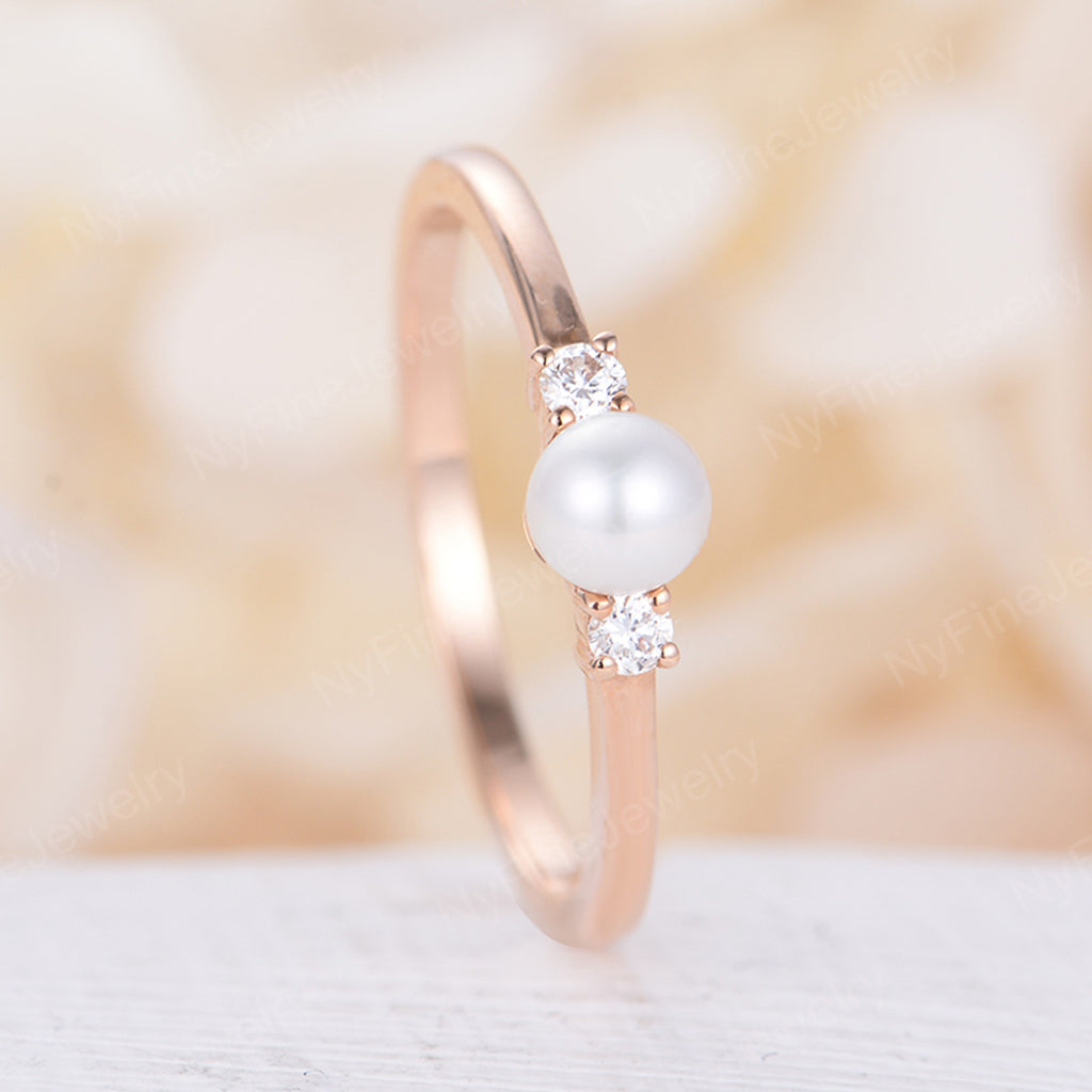 Pearl engagement ring Seawater Pearl Akoya Pearl rose gold Diamond wedding Dainty Three stone Unique Birthstone Promise Anniversary gift